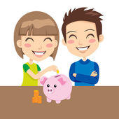 Kids Saving Money — Stock Vector