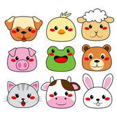 Animal Face Collection — Stock Vector