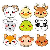 Happy Animal Faces — Stock Vector
