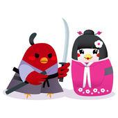 Traditional Japanese Birds — Stock Vector
