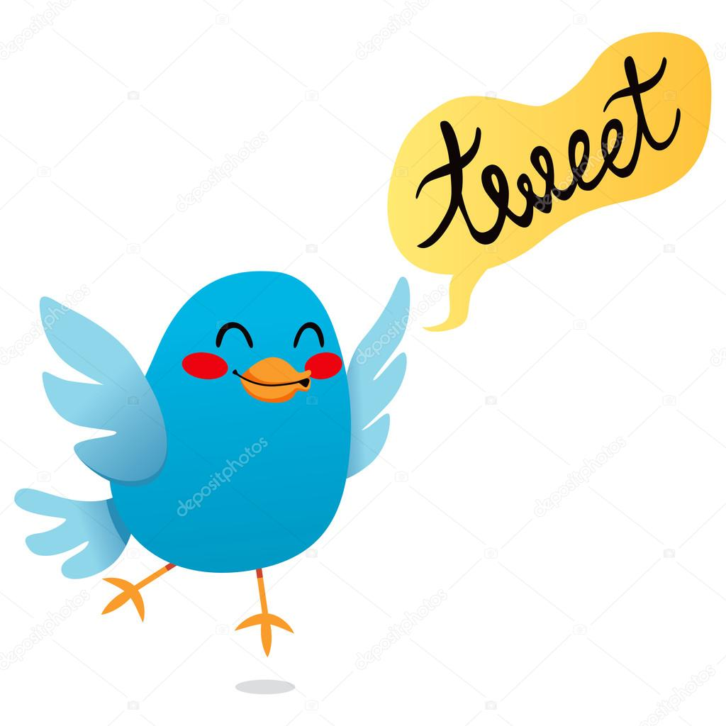 Cute little blue bird tweet cartoon illustration — Stock Vector #13514481