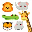 Cute Animal Faces - Stock Vector