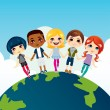 Happy Multi-ethnic Children — Imagen vectorial