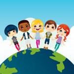 Happy Multi-ethnic Children — Stock Vector