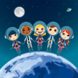 Children Astronaut Dream — Stock Vector