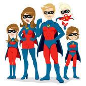 スーパー ヒーローの家族の衣装 — ストックベクタ