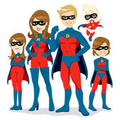 Superhero Family Costume — Stock Vector