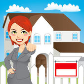 Real Estate Woman — Vector de stock