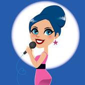 Artist Woman Singer — Stock Vector