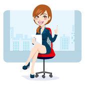 Office Brunette Woman — Stock Vector
