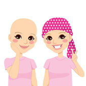 Young Girl With Cancer — Stock Vector