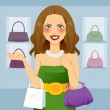 Stock Vector: Beautiful Shopaholic Woman