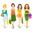 Fashion Girls Walking — Stock Vector #14138823