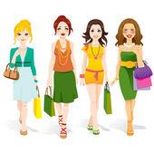Fashion Girls Walking — Stock vektor