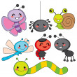 Happy Little Bugs - Stock Vector