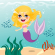 Beautiful Mermaid Girl — Stock Vector