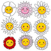 Funny Flower Faces — Stock Vector