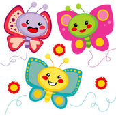 Cute Butterflies — Stock Vector