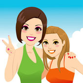Best Friends Girls — Stock Vector