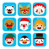 Christmas Character Faces — Stock Vector