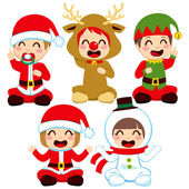 Christmas Baby Costumes — Stock Vector