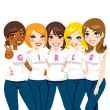 Girl Power Friends — Vector de stock #15636411