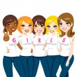 amici di potere ragazza — Vettoriale Stock