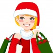 Christmas Shopping Blonde — Stock Vector