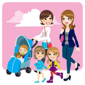 Mother Friends — Stock Vector