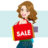 Sale Shopper Woman — Stock Vector