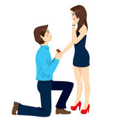 Engagement Proposal Surprise — Stock Vector