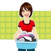Woman Laundry Chores — Stock Vector