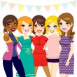 Women Friends Party — Stock Vector