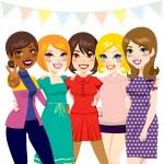 Women Friends Party — Stock Vector