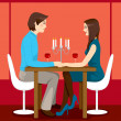 Romantic Anniversary Dinner - Stock Vector