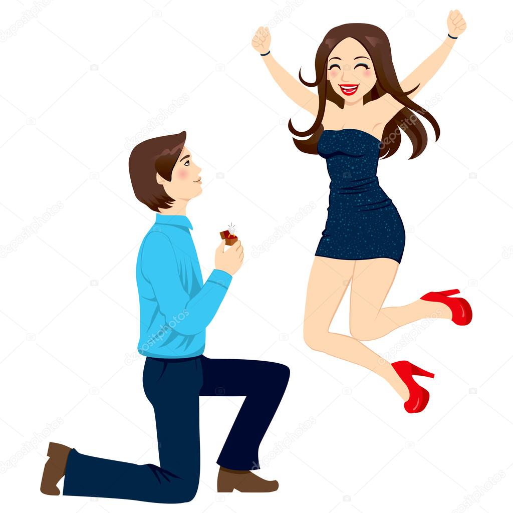 Handsome man proposing marriage to beautiful woman jumping happy in excitement with joy and energy — Stock Vector #16961103