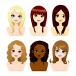 Multi-ethnic Women Long Hair — Stok Vektör