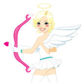 Smiling Cupid Angel Woman — Stock Vector