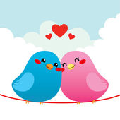 Liefdevolle vogel paar — Stockvector