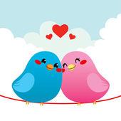 Loving Bird Couple — Stock Vector