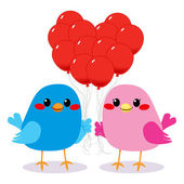 Birds Love Heart Balloons — Stock Vector