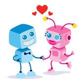 Robot Love Couple — Stock Vector