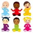 Multi-ethnic Baby Kids — Stockvectorbeeld
