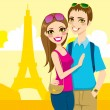 Paris Honeymoon Trip — Stock Vector