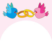 Pink Bird Engagement Rings — Stock Vector