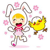 Bunny Girl And Little Chick — Stock Vector