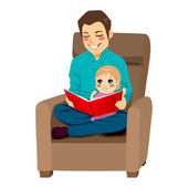 Dad and Daughter Reading — Stock Vector
