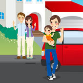 Amicably Divorced Family — Stockvector