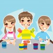 Kids Painting Fun — Stock Vector