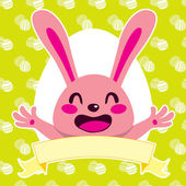Happy Pink Bunny — Stock Vector